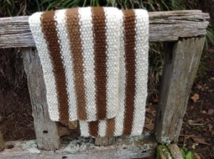 Alpaca scarf with three lengthwise stripes